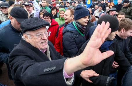Владимир Жириновский во время митинга на Пушкинской площади.