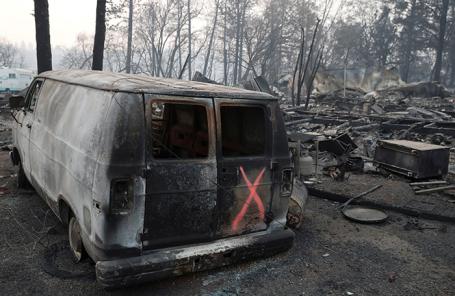 Последствия лесных пожаров в Калифорнии.