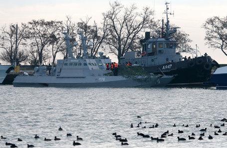 Корабли Военно-морских сил Украины в порту Керчи.
