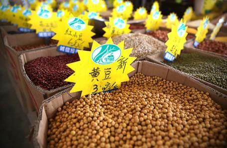 Соя на рынке в Китае.