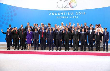 Участники саммита G20 в Буэнос-Айресе, Аргентина.
