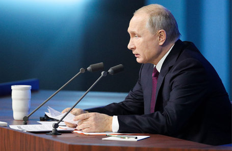 Президент РФ Владимир Путин во время большой ежегодной пресс-конференции в Центре международной торговли на Красной Пресне, 20 декабря 2018 года.
