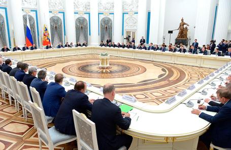 Встреча Владимира Путина с представителями крупного российского бизнеса. Москва, Кремль, декабрь 2017 года.