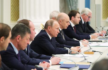 Встреча Владимира Путина с представителями российских деловых кругов в Кремле.