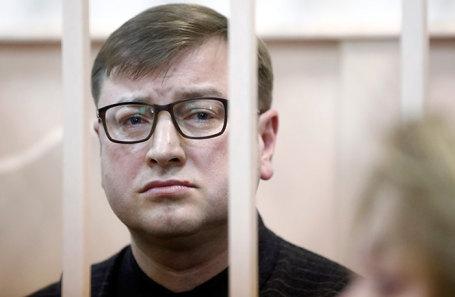 Дмитрий Михальченко, обвиняемый в организации контрабанды элитного алкоголя, во время оглашения приговора в Басманном районном суде в Москве, 28 декабря 2018 года.