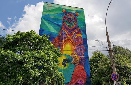 Граффити на стене девятиэтажного дома на ул. Профсоюзная, посвященные чемпионату мира по футболу.