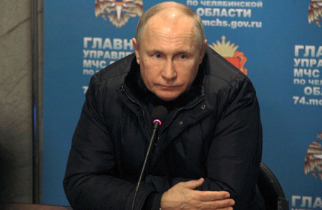 Президент РФ Владимир Путин во время экстренного совещания в главном штабе МЧС по Челябинской области по ситуации со взрывом бытового газа в жилом доме.
