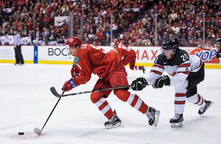 На матче молодежного чемпионата мира по хоккею между сборными России и Канады.