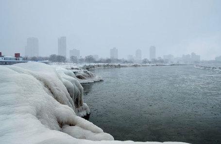 Морозы в Чикаго, Мичиган, США.