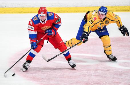 Матч хоккейного турнира «Хоккейные игры Beijer» между командами России и Швеции в рамках Еврохоккейтура.