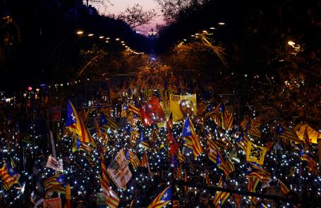 Акция протеста в Барселоне.