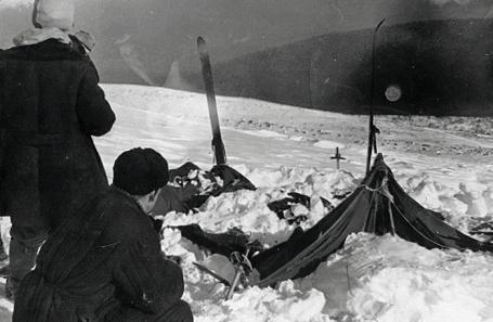 Вид на найденную палатку группы.