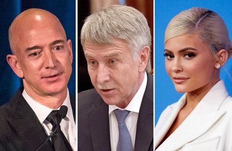 Джефф Безос, Леонид Михельсон, Кайли Дженнер (слева направо).