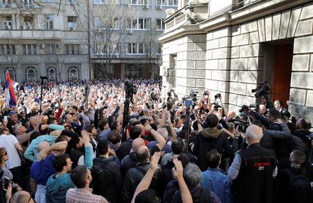 Акция протеста против президента Сербии Александра Вучича в Белграде.