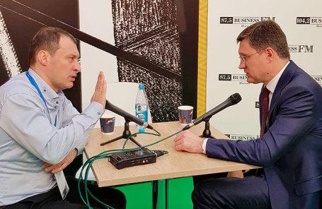 Главный редактор Business FM Илья Копелевич и министр энергетики РФ Александр Новак.