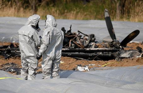 Следственные мероприятия на месте авиакатастрофы, в которой погибла совладелица авиакомпании S7 Наталия Филева. Эгельсбах, Германия.