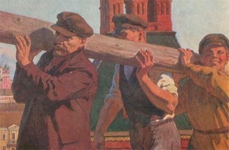 В.С. Иванов «В. И. Ленин на субботнике в Кремле 1 мая 1920 года», 1964.