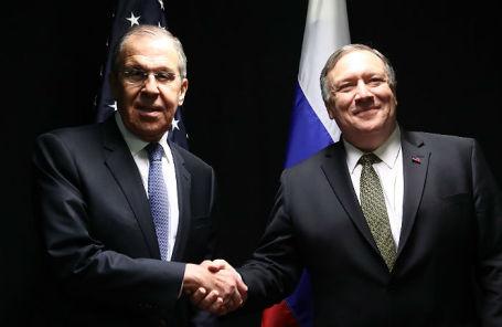 Министр иностранных дел России Сергей Лавров и государственный секретарь США Майк Помпео.