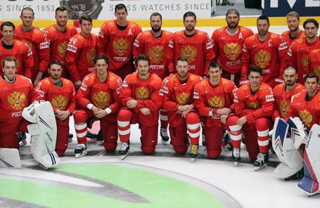 Тренировка сборной России по хоккею в Братиславе перед началом чемпионата мира по хоккею.