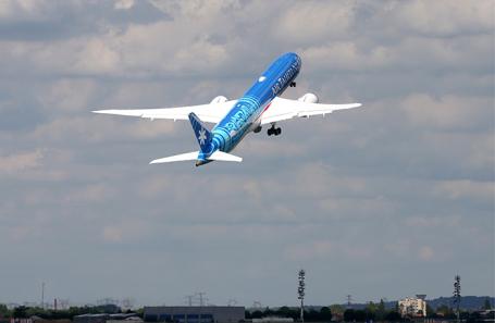 Boeing 787 Dreamliner во время 53-го Международного аэрокосмического салона в Ле-Бурже.