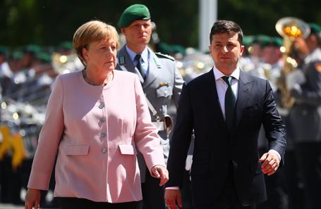 Ангела Меркель и Владимир Зеленский на встрече в Берлине.