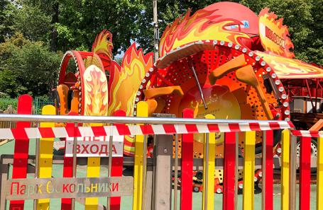 Аттракцион «Колобок» в парке «Сокольники», где трое детей получили травмы при падении.