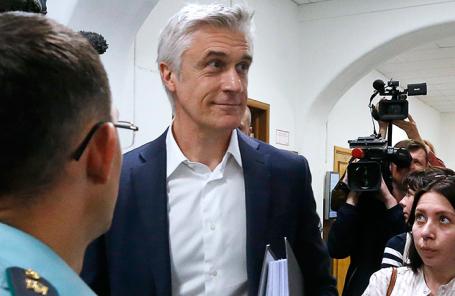 Майкл Калви во время рассмотрения ходатайства о продлении срока домашнего ареста в Басманном суде в Москве.