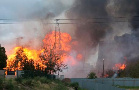 Пожар на ТЭЦ-27 в Мытищах.