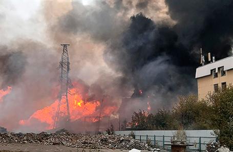Пожар на Северной ТЭЦ в Мытищах.