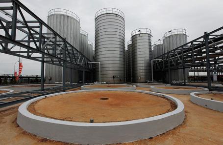 Резервуары для хранения пальмого масла на заводе в Индонезии.