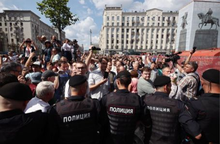 Несанкционированная акция оппозиции в Москве.