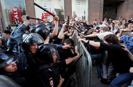 Акция против недопуска оппозиции к выборам В Мосгордуму.