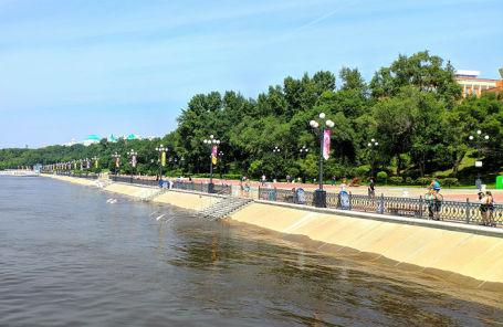 Подтопление набережной Амура в Хабаровске из-за сильных дождей.