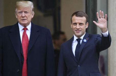 Президент США Дональд Трамп и президент Франции Эммануэль Макрон.