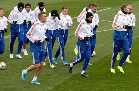 Тренировка сборной России по футболу перед матчем со сборной Шотландии.