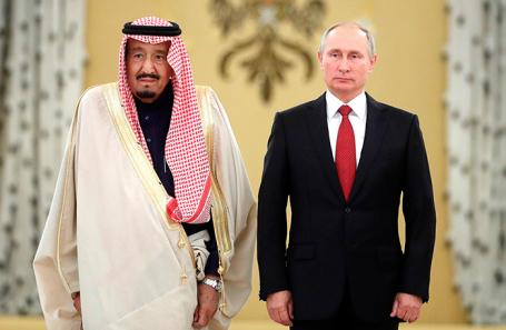 Король Саудовской Аравии Салман Аль Сауд и президент России Владимир Путин.