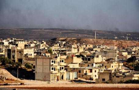 Вид на город Хан-Шейхун в провинции Идлиб на северо-западе Сирии.