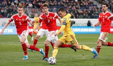 Отборочный матч чемпионата Европы по футболу между сборными России и Бельгии.