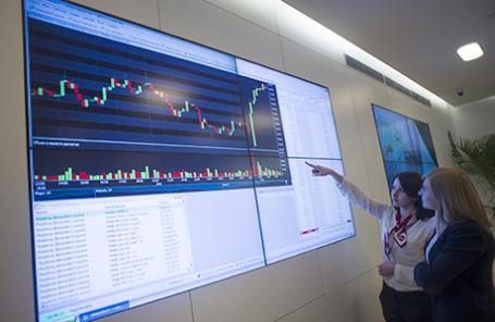 Работа Московской биржи.
