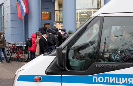 Эвакуация Тверского суда в Москве.