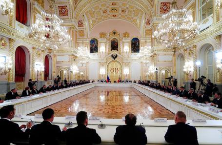 Встреча президента России Владимира Путина с представителями российских деловых кругов в Кремле.