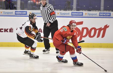 Молодежный чемпионат мира по хоккею: Россия — Германия в Остраве, Чехия.