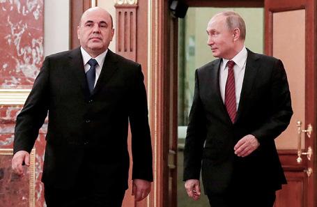 Председатель правительства Михаил Мишустин и президент России Владимир Путин.