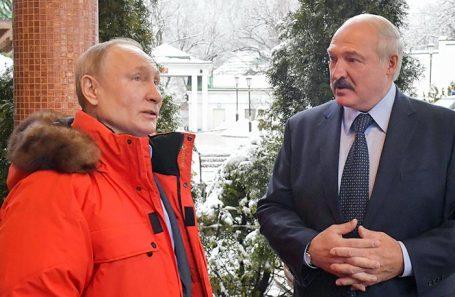 Владимир Путин и Александр Лукашенко во время встречи в Красной Поляне.