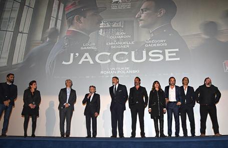 Режиссер Роман Полански во время представления фильма «Офицер и шпион» (J'accuse) в Париже.