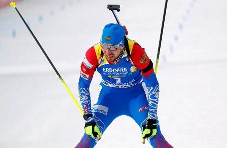 Александр Логинов на чемпионате мира по биатлону в Италии.