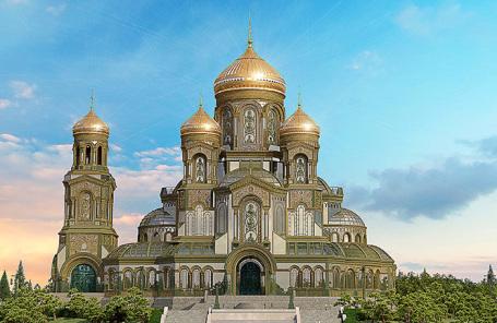 3D-макет главного храма Вооруженных сил России в Подмосковье.