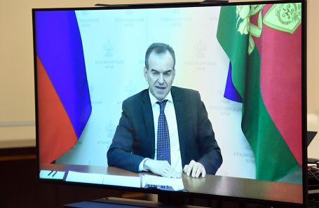 Вениамин Кондратьев во время видеоконференции с Владимиром Путиным.