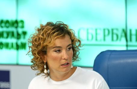 Глава правления «Союзмультфильма» Юлиана Слащева на пресс-конференции по вопросам сотрудничества киностудии со Сбербанком.