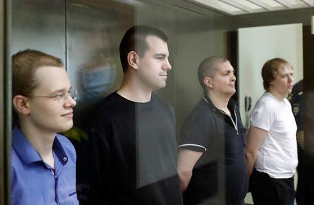 Оглашение приговора по делу «Нового величия». Вячеслав Крюков, Руслан Костыленков, Петр Карамзин и Дмитрий Полетаев (слева направо)
